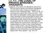ch xv the logic of private episodes thoughts