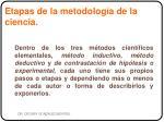 etapas de la metodolog a de la ciencia