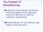 the problem of manufacturing