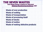 the seven wastes from shigeo shingo in robert w halls book attaining manufacturing excellence 1987