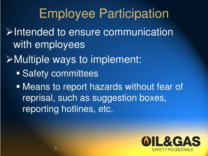employee participation Employee involvement refers to work structures and processes that allow employees to systematically give their input into decisions that effect their own work.