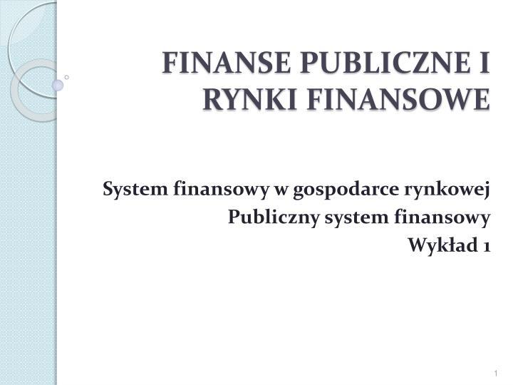 finanse publiczne i rynki finansowe n.