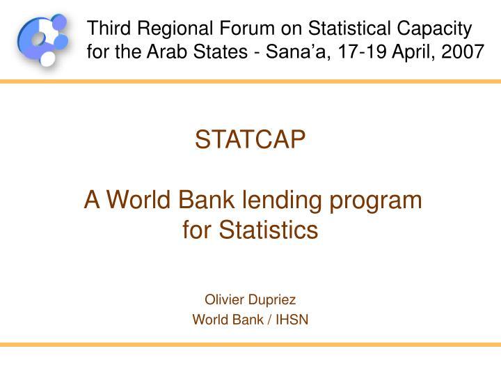 statcap a world bank lending program for statistics n.