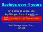 savings over 4 years