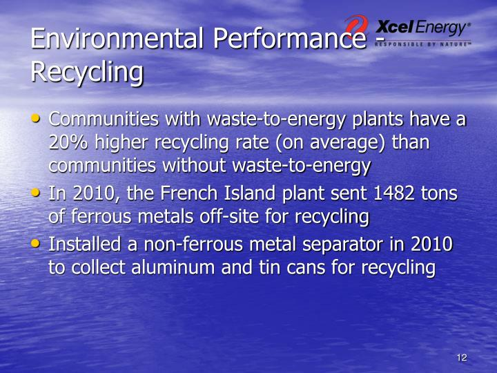 Environmental Performance -Recycling