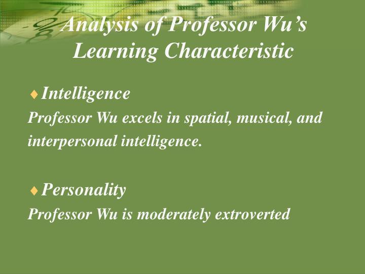Analysis of Professor Wu's