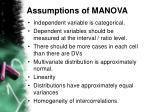 assumptions of manova