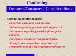 continuing insource outsource considerations1