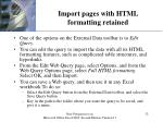 import pages with html formatting retained