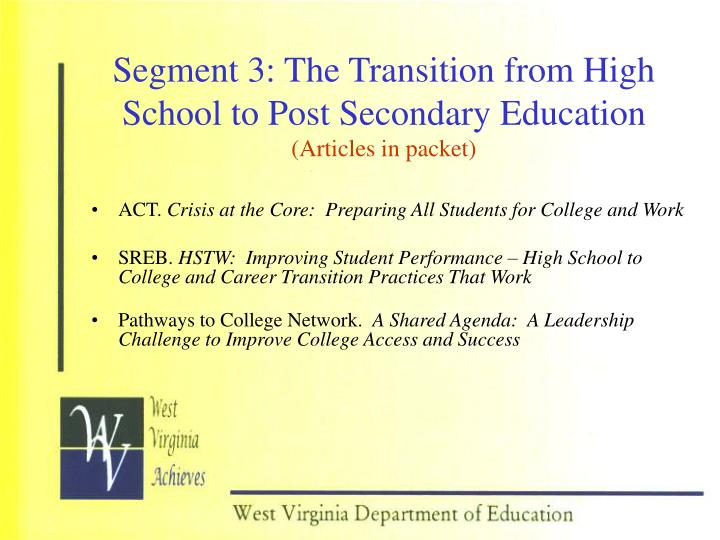 the tough transition from high school to college This pamphlet contains information for high school students with disabilities who plan to continue their us department of education college accreditation.