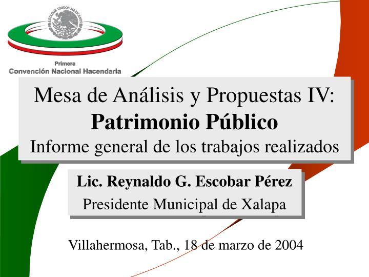 mesa de an lisis y propuestas iv patrimonio p blico informe general de los trabajos realizados n.