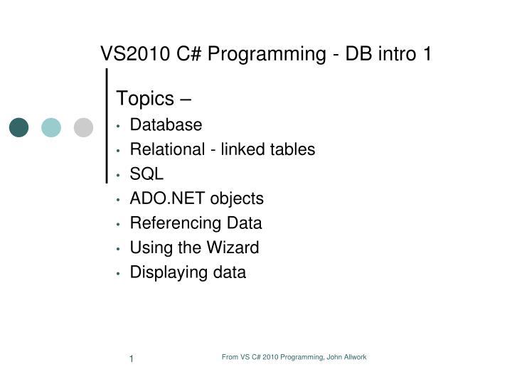 vs2010 c programming db intro 1 n.