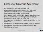 content of franchise agreement1