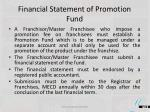 financial statement of promotion fund