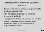 introduction of franchise system in malaysia