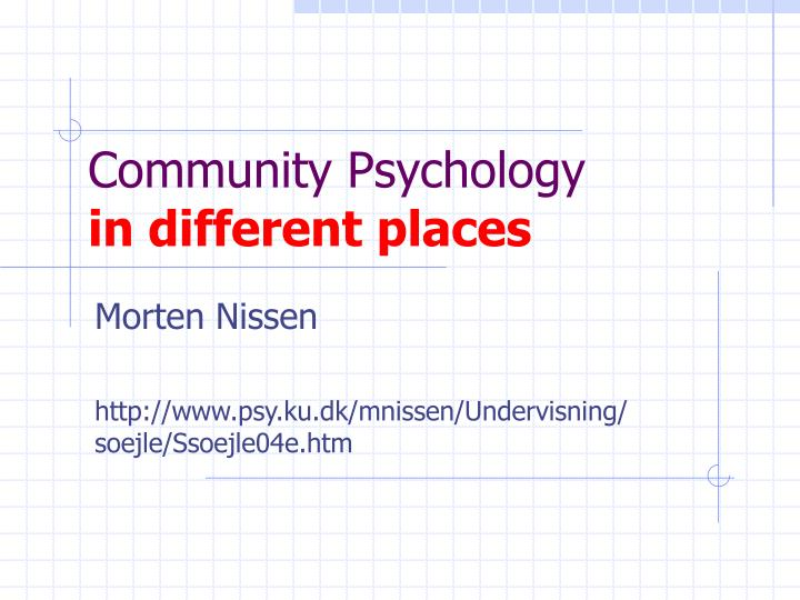 community psychology in different places n.