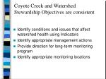 coyote creek and watershed stewardship objectives are consistent