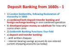 deposit banking from 1660s 1