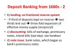 deposit banking from 1660s 2