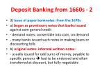 deposit banking from 1660s 21