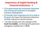 importance of english banking financial institutions 1