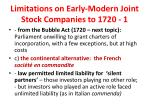 limitations on early modern joint stock companies to 1720 1