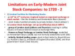 limitations on early modern joint stock companies to 1720 2