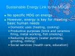 sustainable energy link to the mdgs