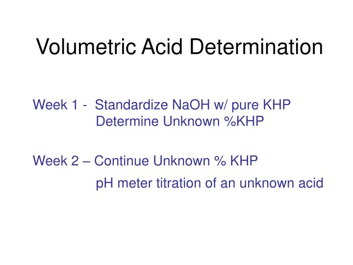 volumetric acid determination n.