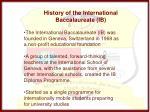 history of the international baccalaureate ib