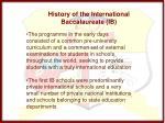 history of the international baccalaureate ib1