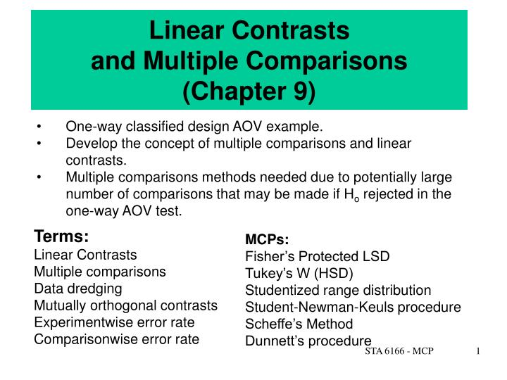 linear contrasts and multiple comparisons chapter 9 n.