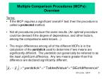 multiple comparison procedures mcps overview