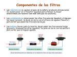 componentes de los filtros