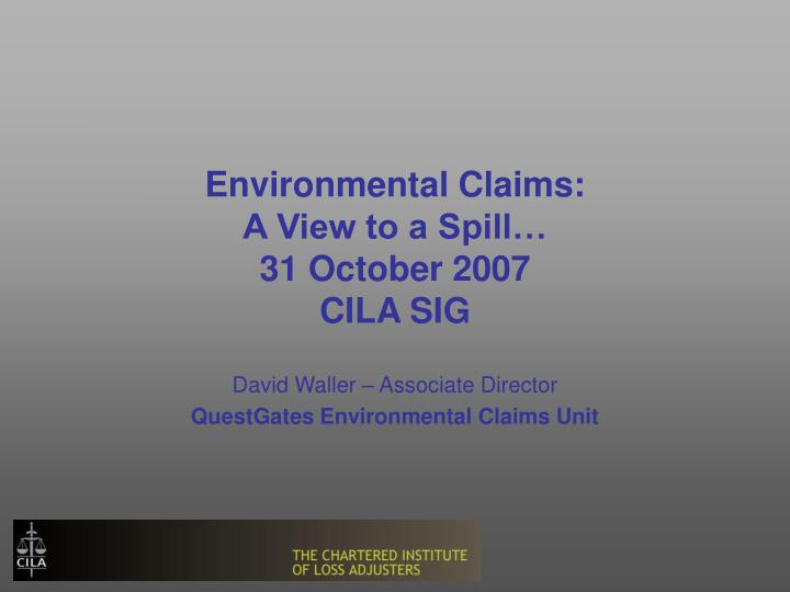 environmental claims a view to a spill 31 october 2007 cila sig n.