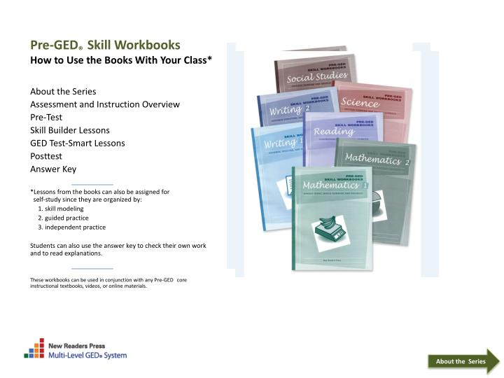 pre ged skill workbooks how to use the books with your class n.