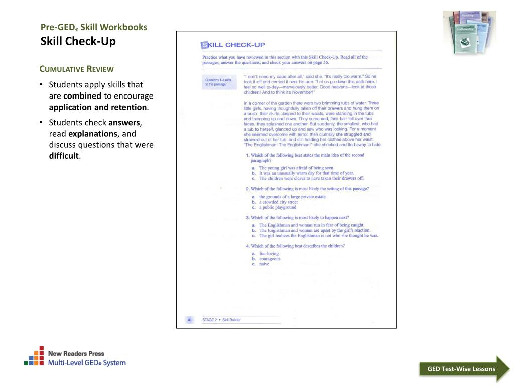 PPT - Pre-GED ® Skill Workbooks How to Use the Books With