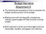 budget narrative attachment 9