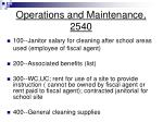 operations and maintenance 2540