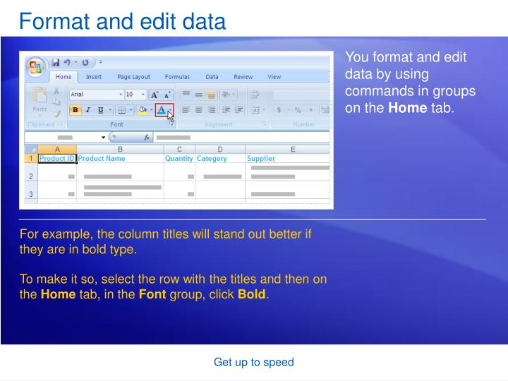 Format and edit data