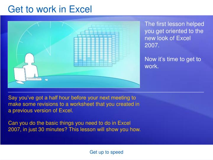 get to work in excel n.