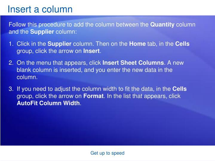 Insert a column