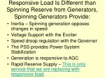 responsive load is different than spinning reserve from generators spinning generators provide