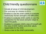 child friendly questionnaire