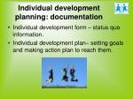 individual development planning documentation