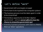 let s define work