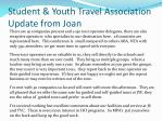 student youth travel association update from joan