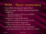 wdm physic al networking