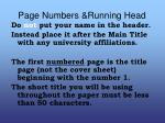 page numbers running head