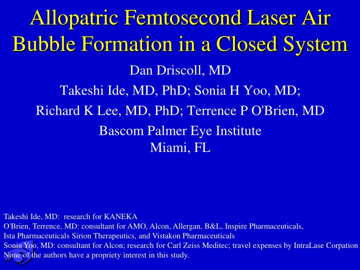 allopatric femtosecond laser air bubble formation in a closed system n.